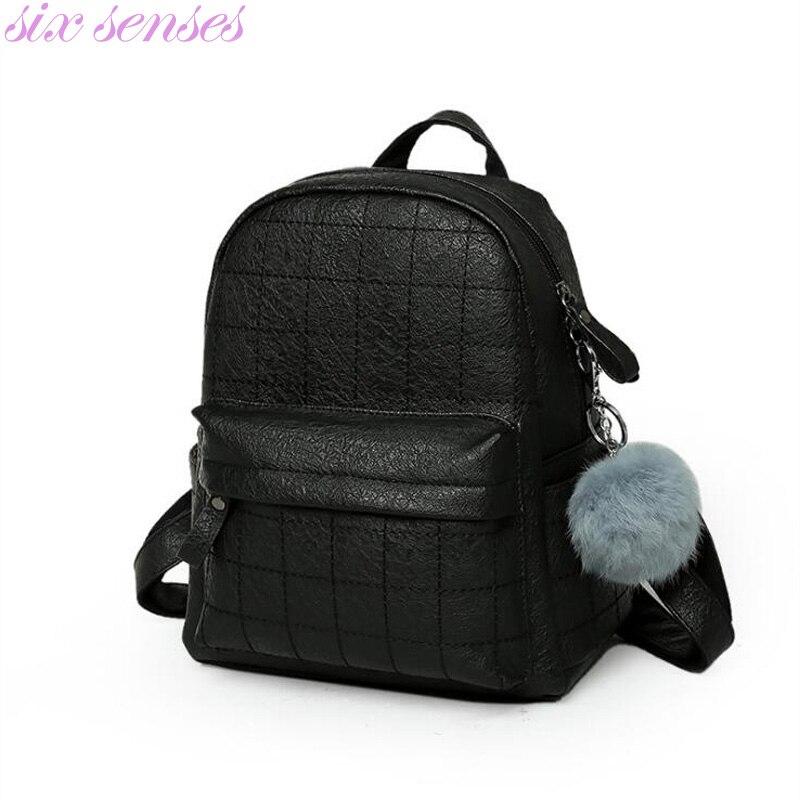 Six senses New PU Leather Women backpack female fashion rucksack girl school bag travel bag big capacity backpack XD3810 the big six