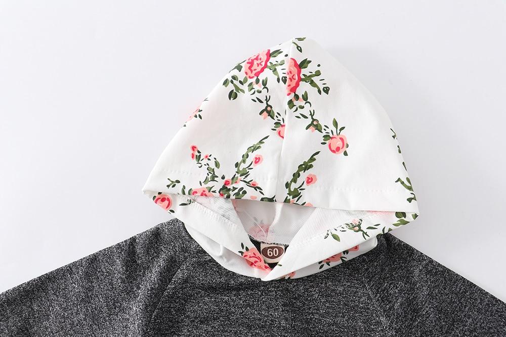 Newborn Infant Baby Girls Floral Clothes Set Long Sleeve Hooded Tops Hoodie Pants Headband Flower PCS
