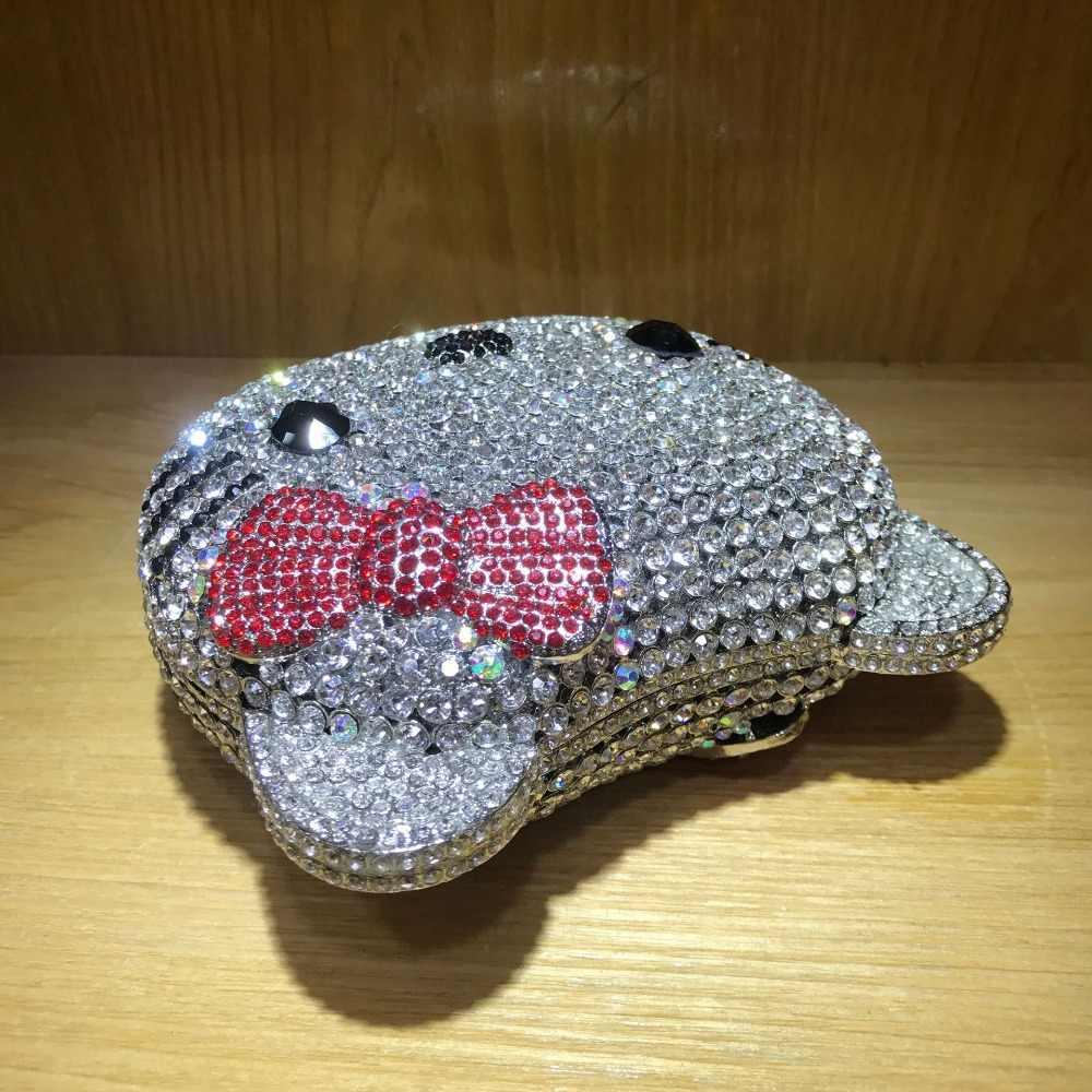 XIYUAN olá kitty Embreagem Noite Cadeia Saco Bolsa Das Mulheres Do Partido Da Noiva Do Casamento de Cristal Diamante Saco banquete Dia bolsa Garras