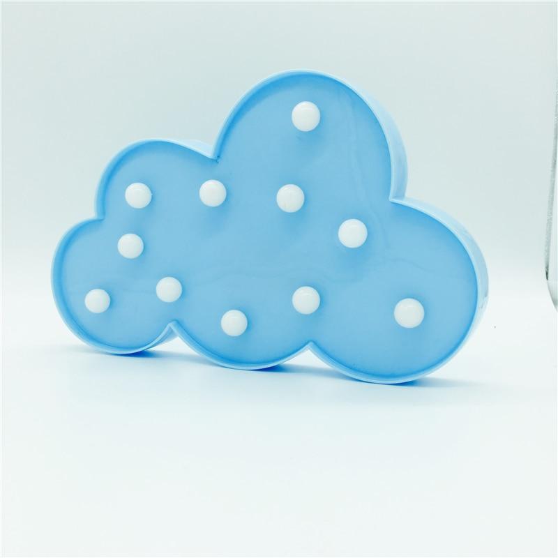 Yenilik 11 LED Beyaz Mavi Bulut Mektup 3D Marquee Gece Lambası Noel - Gece Lambası - Fotoğraf 5