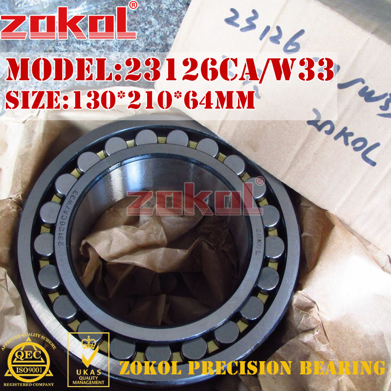 ZOKOL bearing 23126CA W33 Spherical Roller bearing 3053726HK self-aligning roller bearing 130*210*64mm mochu 22213 22213ca 22213ca w33 65x120x31 53513 53513hk spherical roller bearings self aligning cylindrical bore