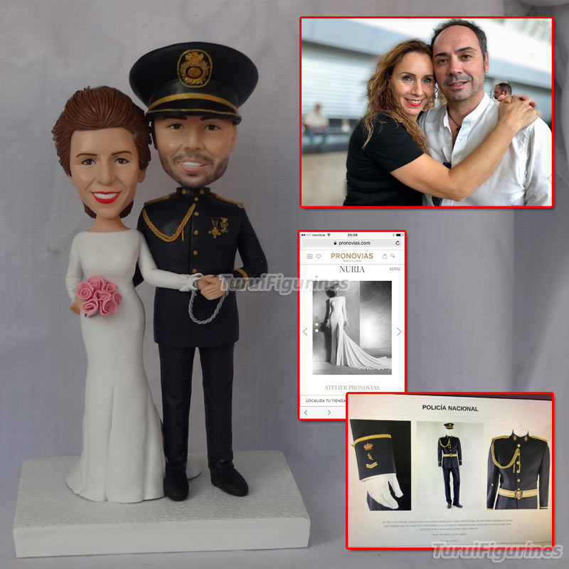 ooak polymer clay doll Custom wedding cake topper mr and mrs cake topper bride and groom figurine miniature cat dog miniature in Party Favors from Home Garden