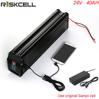 New arrival silver fish 24v e bike battery 24 volt 40ah Sanyo cell lithium battery pack with USB port
