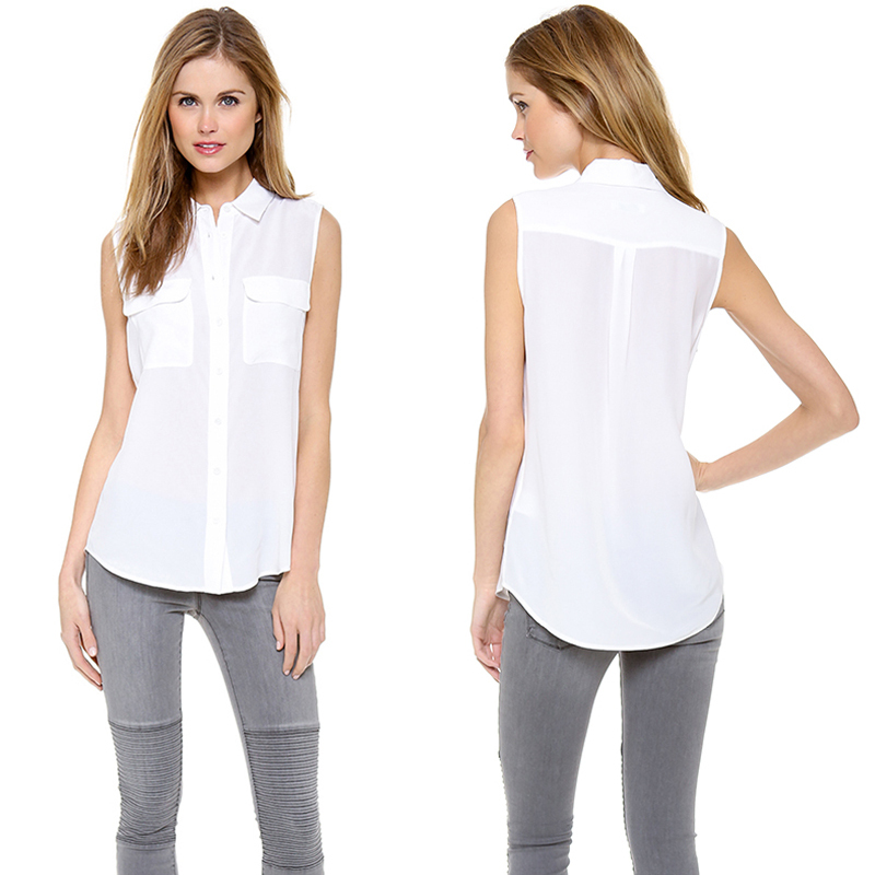 Brief OL Sleeveless White Women Blouses Casual Tops Double Pockets ...