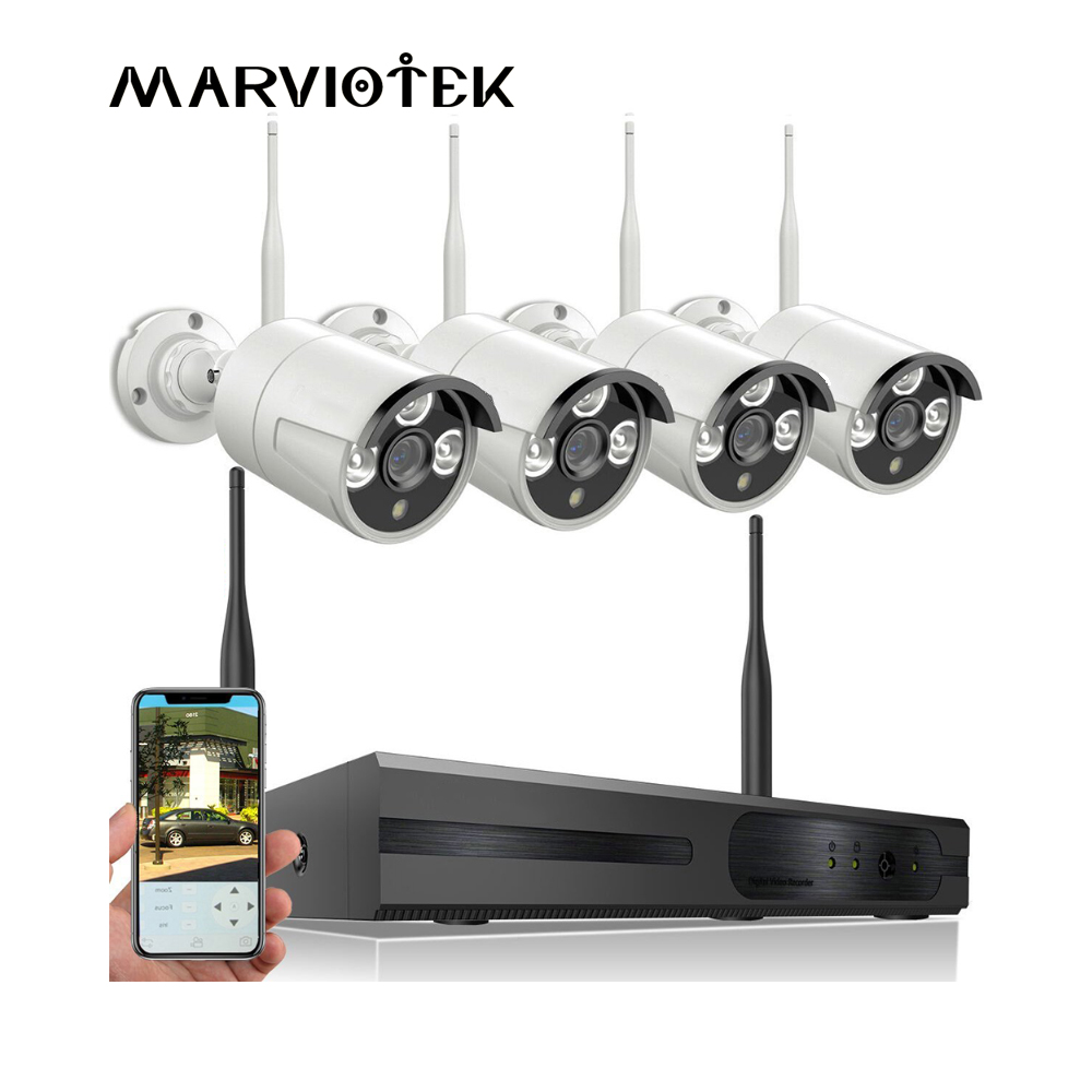 CCTV Camera System Wireless 1080P Full HD IP Cameras Wifi NVR Kit Security Camera System Network outdoor Video Surveillance Set annke nvr kit 4 cameras 1080p 4ch wireless wifi nvr ip network cctv security camera system surveillance kit ip66 indoor outdoor