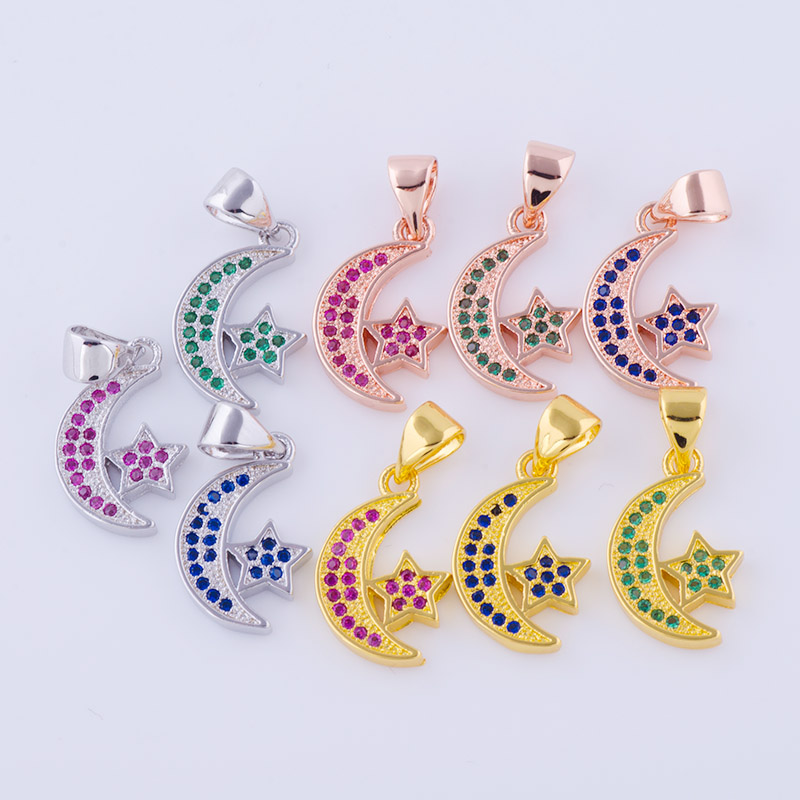 New Design Micro Pave Colorful Zircon Ramadan Crescent Walking Moon Ship Charm Pendant Necklace For Eid Mubarak Gift Jewelry
