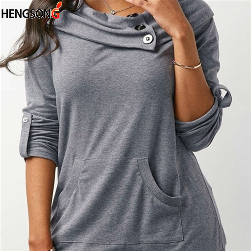 Cowl Neck Casual Sweatshirts Autumn 2018 New Button Women Fashion Front Pockets Pullovers Casual Long Sleeve Loose Hoodies Tops