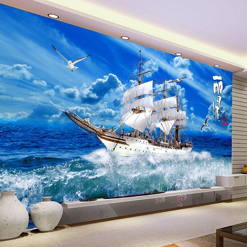 Custom Photo Wallpaper Sea Waves Sailing Ship Nature Landscape Large Mural Wall Papers Home Decor Living Room Papel De Parede 3D