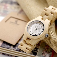 BOBO BIRD O10 Natural White Bamboo Ladies Watches Top Brand Luxury Design Clocks For Women In