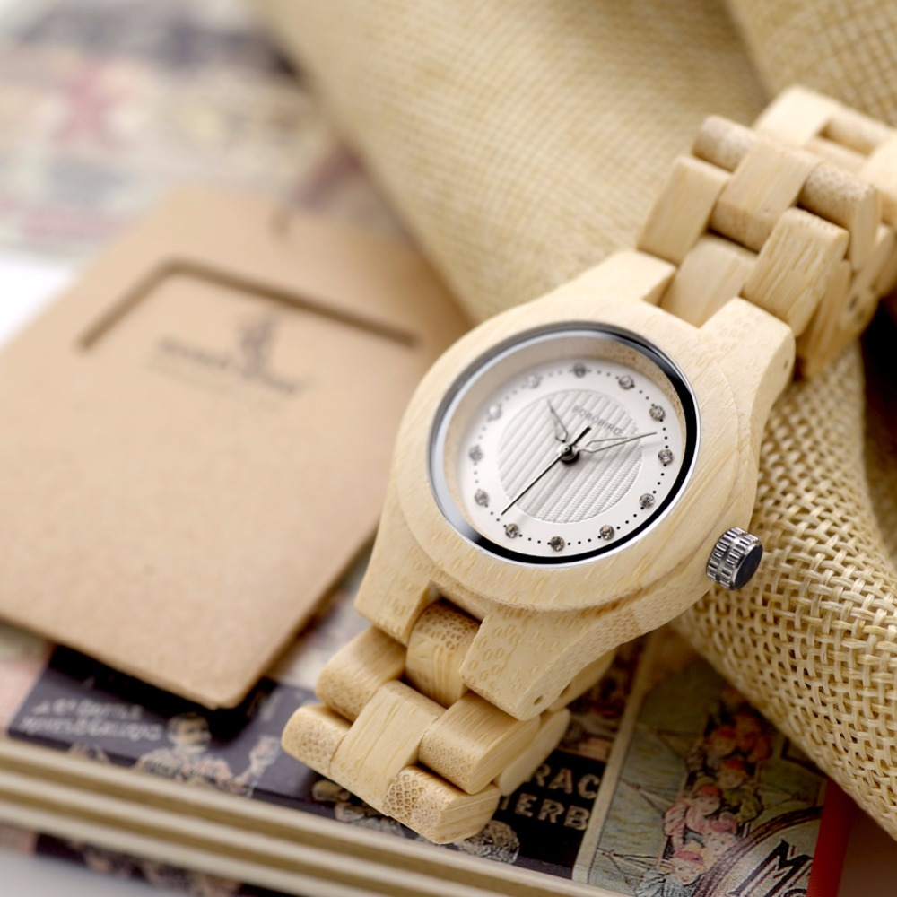 BOBO BIRD Natural Bamboo Ladies Watches Top Brand Design Clocks CO10 for Women in Box Can