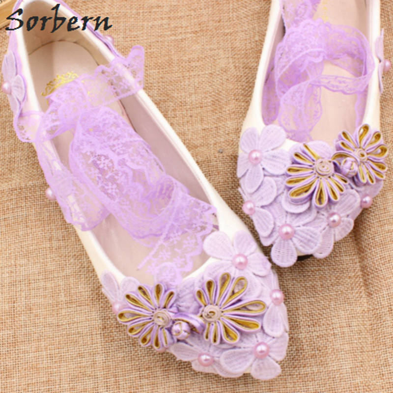 Sorbern Pink Lace Wedding Shoes Flat Heels Chinese Knot ...