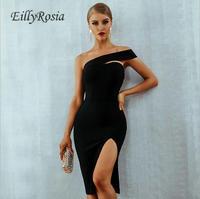 Black White Cocktail Dress Short Sexy Simple One Shoulder High Split Dinner Evening Gowns for Women robe coktail vestido social
