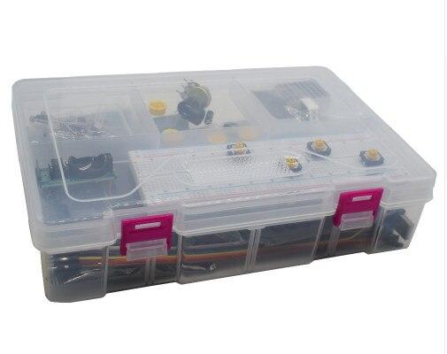 Kit de démarrage pour UNO r3 avec câble MEGA 2560/Lcd1602 I2C/Hc-sr04/Sg90/HC-SR501/RC522/Dupont dans une boîte en plastique