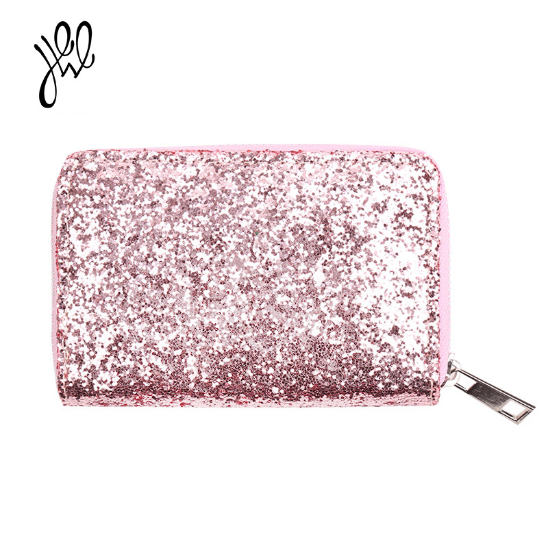 2018 Fashion Women Wallets Bling Powder Shiny Short Lady Purse Adorable Card Holder Purses Small Brand Glitter Flip Wallet500648