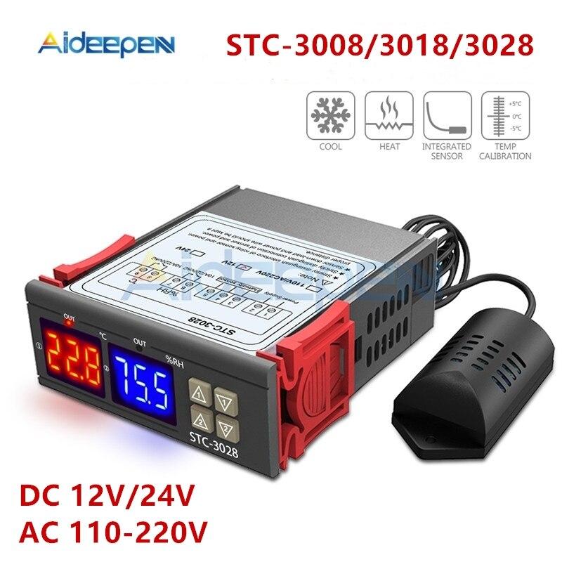 Двойной цифровой регулятор температуры, гигрометр C/F, термостат, два релейных выхода, 110 В, 220 В, 12 В, 24 В, 10 А, 3018, 3028