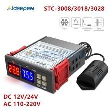 Controlador de temperatura digital duplo, controlador de temperatura higrômetro c/f termostato saída de dois relés ac STC-3008 v 3018 v dc 12v 24v 10a