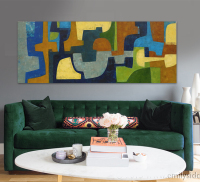 Green Color Puzzle DIY Digital Oil Painting Acrylic Hand Painted Oil Painting Modern Abstract Home Decor