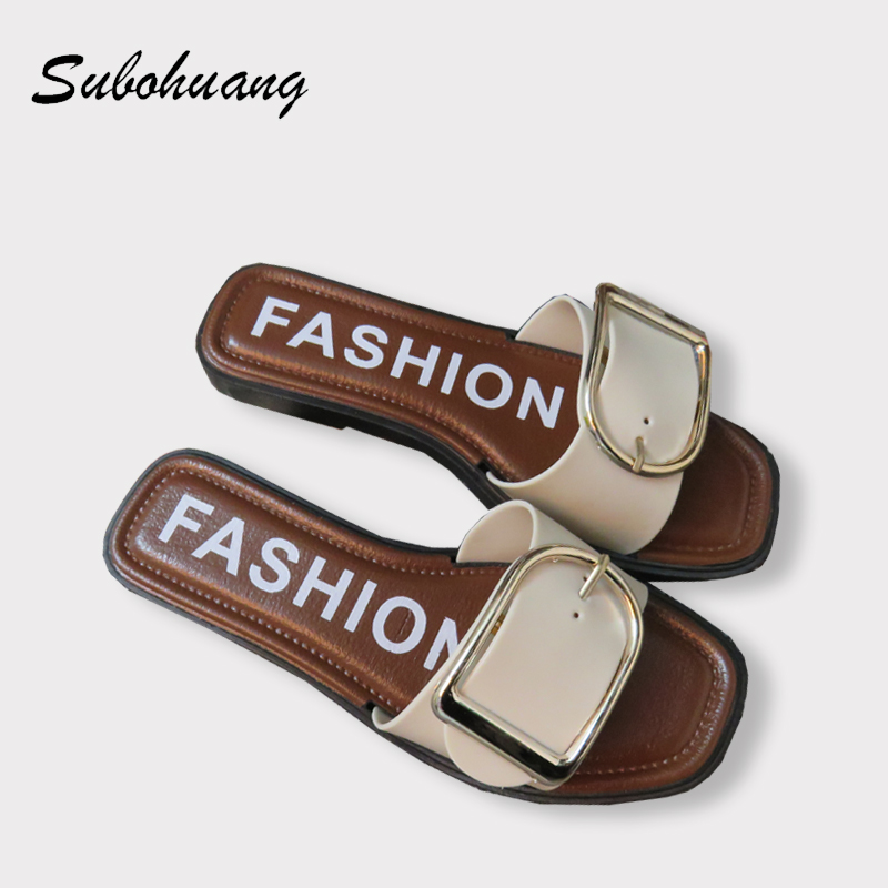 Hot Brand Women Slippers Summer Beach Fashion PU Leather Non-slip Soft Shoes Black White Outside Metal Female Slippers Wholesale new 1ch hdsdi multifunction optical media converter 1080p transceiver video ethernet rj45 rs485 data audio over single fiber