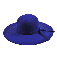 2018 New Pillbox Hat Women's Wide Brim Felt Bowler Fedora Hat Floppy Sun Bowknot Cloche Cap Women's Large Hat 10 Colors outdoor