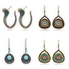 India Tribal Punk Green Snake Drop Dangle Earrings for Women Vintage Design Geometric Drop Earring Fashion Jewelry Gifts dhanedhar manisha narwade sunil tribal malnutrition in india