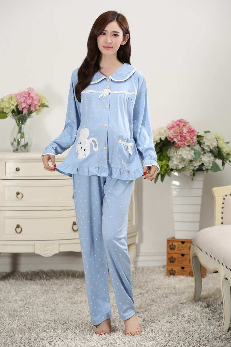Autumn Winter Warm Pregnant Pyjama Women Sleepwear Female Fleece ... 2e4b84fa2