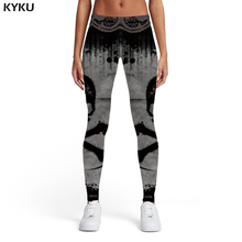 KYKU Brand Skull Leggings Women Ink Spandex Graffiti Ladies Gray Elastic Gothic Sexy Womens Pants Casual Bodybuilding