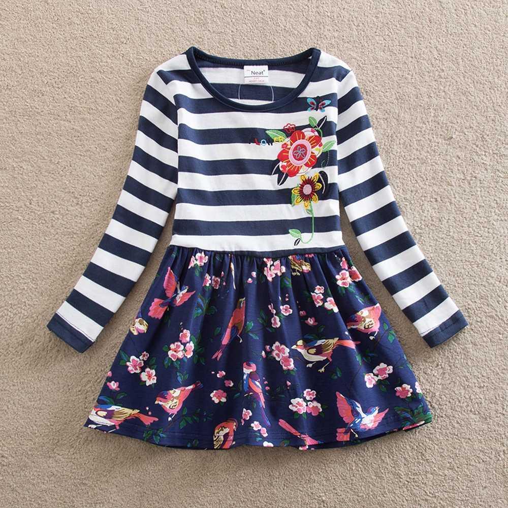 JUXINSU Toddler Kızlar Uzun Kollu Elbiseler Çocuklar için Bebek Sonbahar Kış Pamuk rahat elbise Çiçek Kız giyim için Çizgili 1-8 yıl
