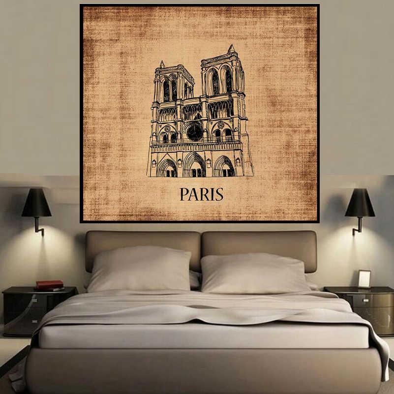 Париж горячее Здание печать украшение на стену живопись маслом Украшение Дома