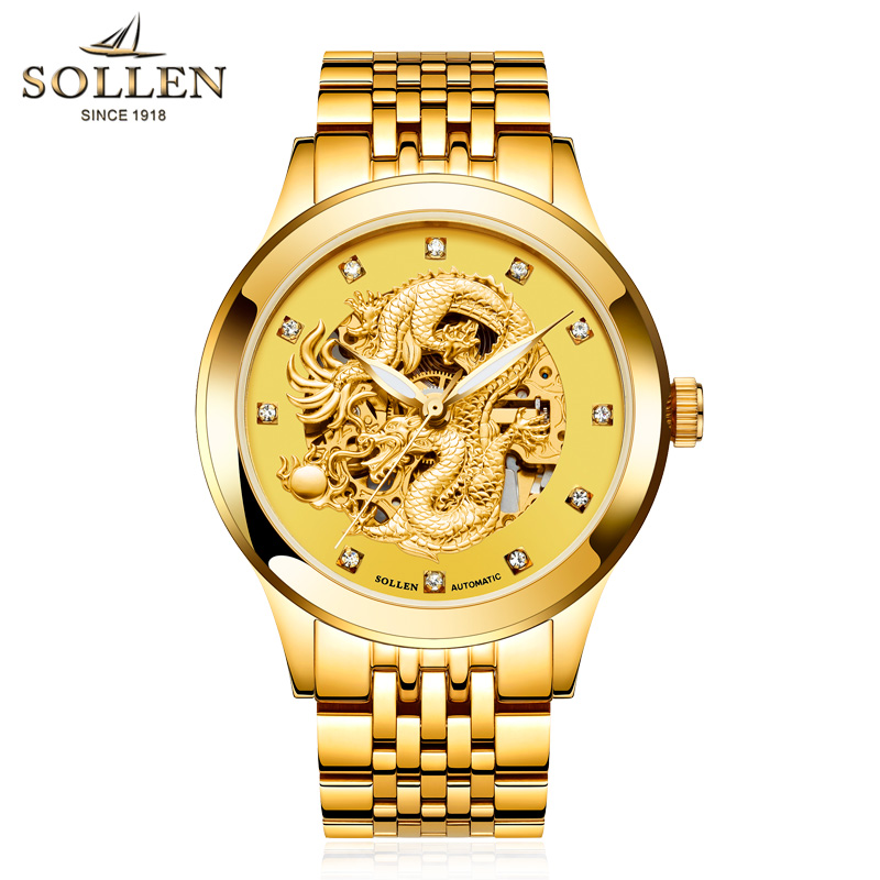 2017 Mechanical Watches Luxury  Men Sport Watch Gold Clock Mens Calendar Automatic Wristwatch With Moon Phase Top Brand SOLLEN 2017 new fashion men binkada top brand gold luxury wristwatches self wind automatic mechanical calendar leather watch clock