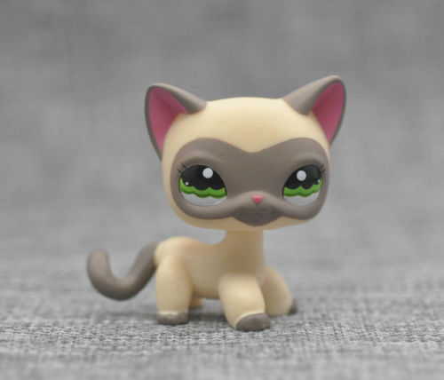 New Pet Collection Figure LPS #1116 Cream Gray Masked Short Hair Cat Rare Toys lovely pet collection lps figure toy black yellow short hair siamese cat blue eyes nice gift kids
