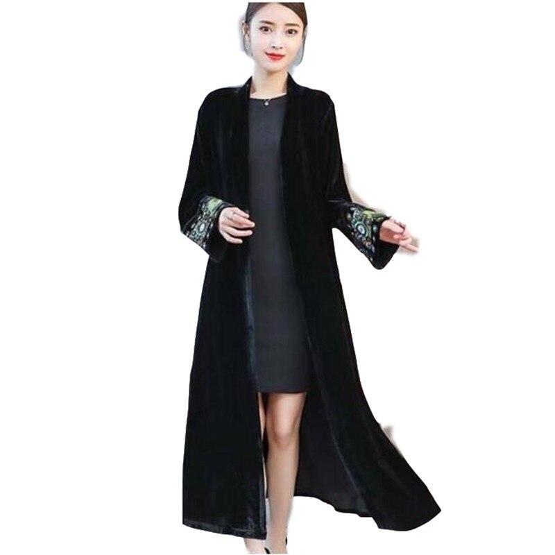 88df6ed515 Elegant Cardigan Velour Dress 2019 Vintage Beaded Embroidery Velvet Dress  Long Sleeve Velour Winter Dress Women