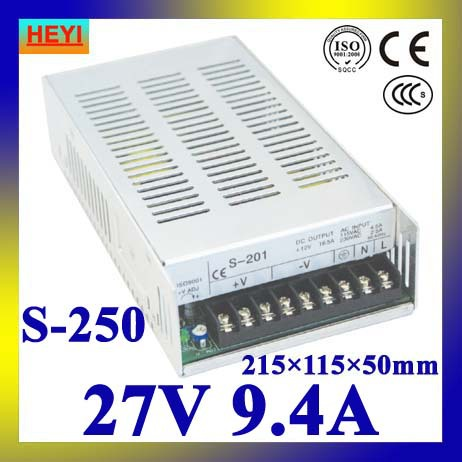 single output switching power supply 27V 9.4A 100~120V/200~240V AC input LED power supply 250W 27V transformer led power supply 24v 25a 100 120v 200 240v ac input single output switching power supply 600w 24v transformer