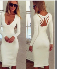 Hot Autumn Long Sleeve V Neck Sexy Dress for Female Vestidos Hollow Out Backless White Solid Knee Length Women Dresses