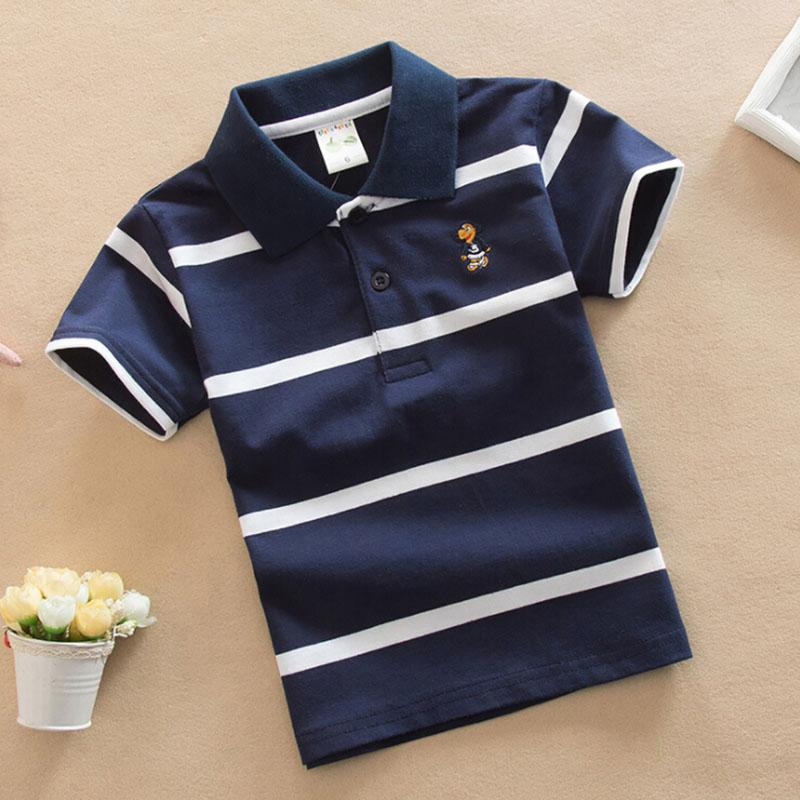 New 2018 Summer Boys Short Sleeve Striped T-Shirt kids summer clothing Turn-down Collar boys t shirt Children Clothes 2-7 Years chic stand collar 3 4 sleeve striped shirt dress for women