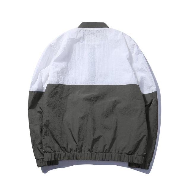 Patch Work Black Grey White Color Zipper Jacket Men Fashion Design Windbreaker Bomber Jacket Men Casual Wear Jacket Male EU Size