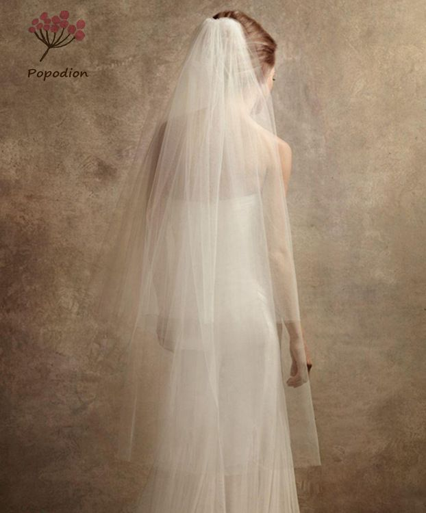 Two-Layer wedding long veil wedding veil with comb white bridal veils 1.5M width mesh veils for bride WAS10041