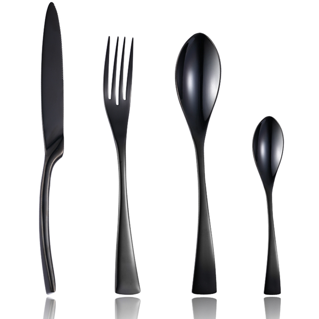 Stainless Steel Black Dinnerware 24 pcs Set