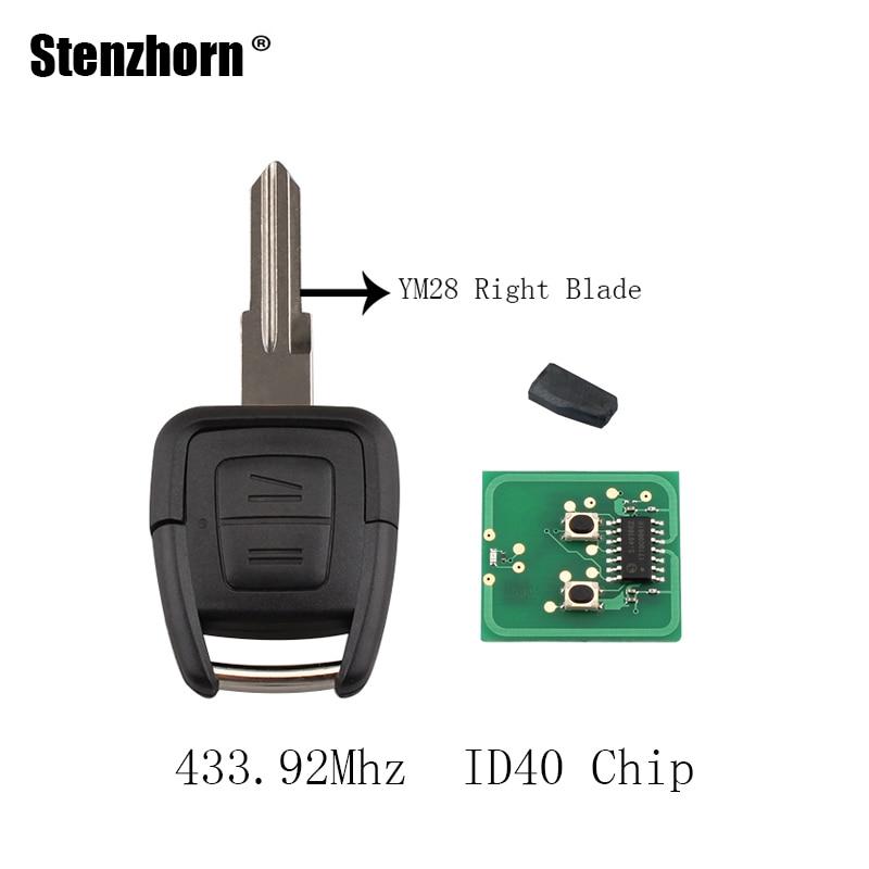Stenzhorn 2 Пуговицы удаленный ключевой ID40 чип для Vauxhall Opel Astra Vectra 433.92 мГц YM28 правой лопатки оригинальные ключи