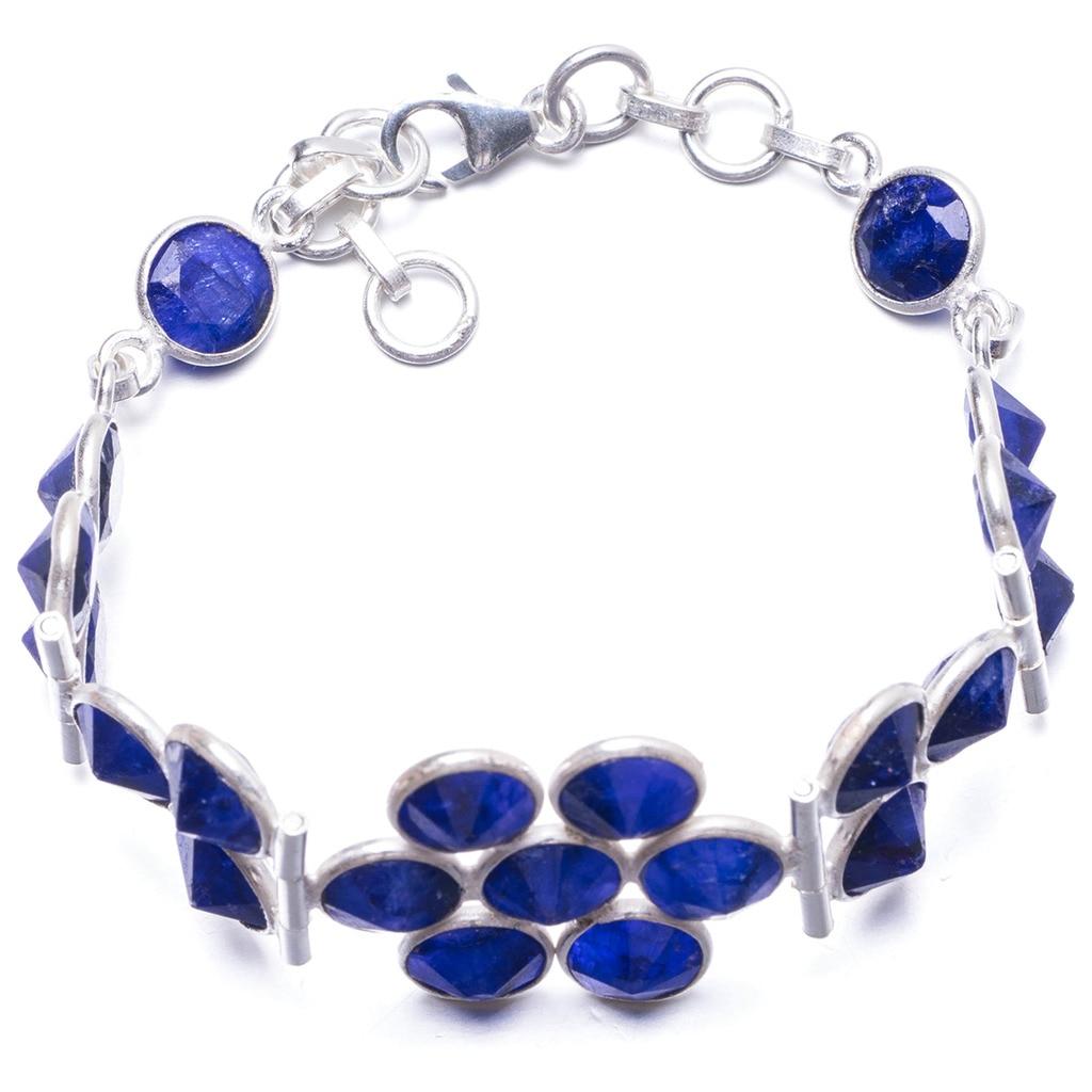 Natural Sapphire Handmade Unique 925 Sterling Silver Bracelet 7 1/4-8 1/4