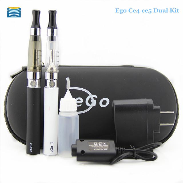 Duplo ego ce4 ce5 ce4 starter kit cigarro eletrônico com 1.6 ml e ce5 atomizador 900-1100 mAh bateria ego e cigarro e cig kit