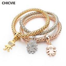 Chicvie новые золотые браслеты с шармами в форме девушки и для