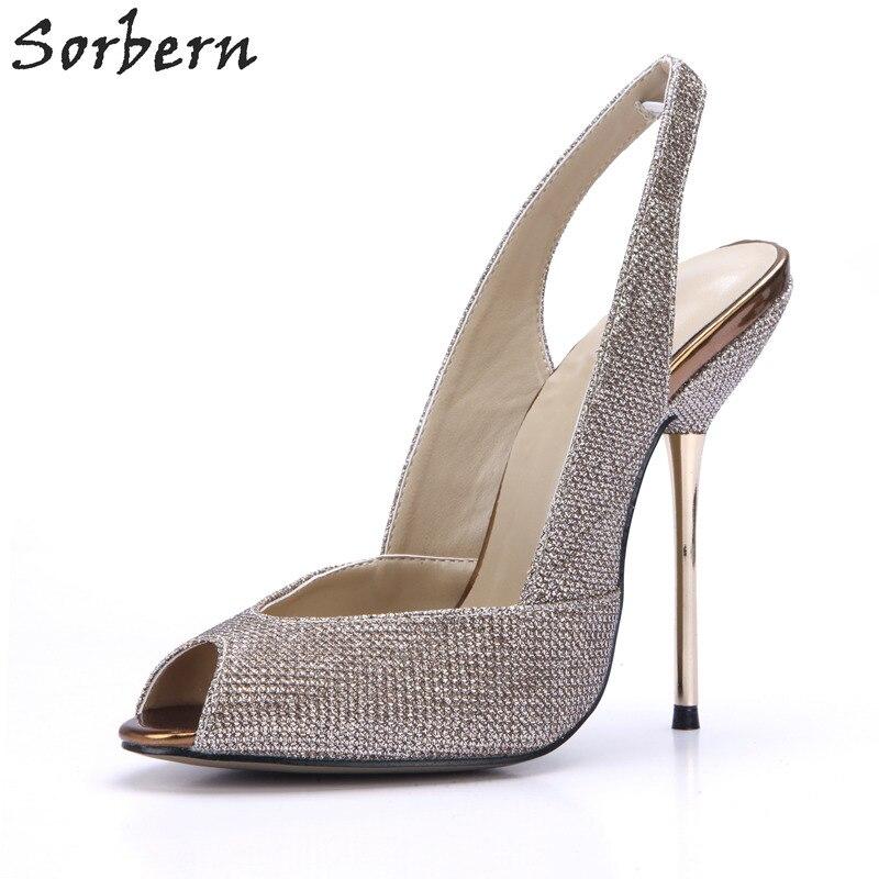 Sorbern Metallic Glitter Shoes Women Gold Heels Slingbacks Open Toe Stiletto High Heels Ladies Pumps Runway