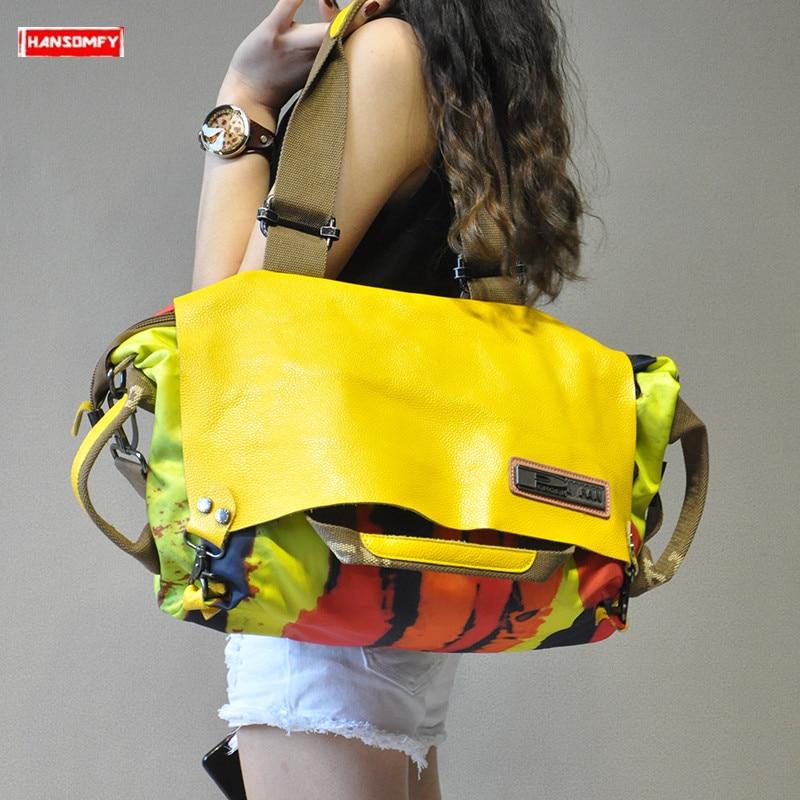 2019 새로운 캐주얼 원래 여성 핸드백 정품 가죽 캔버스 여성 휴대용 crossbody 가방 대용량 패션 어깨 가방-에서숄더 백부터 수화물 & 가방 의  그룹 1