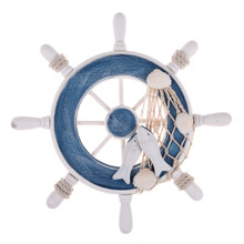 Beach Style Wood Nautical Home Decoration Steering Wheel Fishing Net Home Wall Decoration Boat Ship Rudder Craft