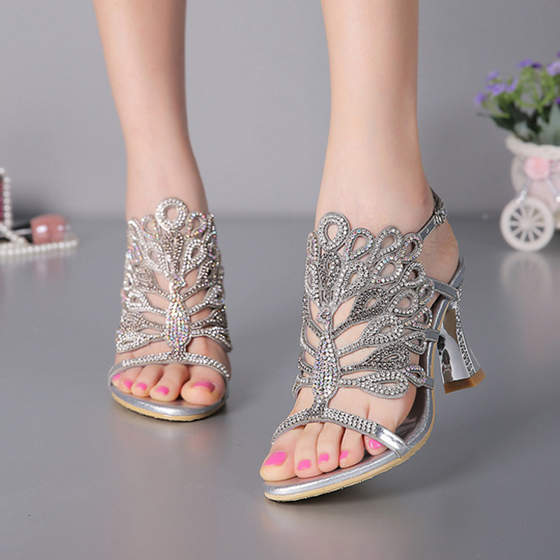 6a6448e8c9f Aliexpress.com   Buy Luxurious Silver Rhinestone Genuine Leather High Heels  Wedding Dress Shoes Summer Sandals Chunky Heel Floral Formal Dress Shoes  from ...
