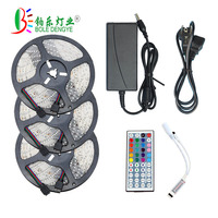 15m RGB 12V Flexible LED Strip Light 5050 LED Ribbon Tape Non Waterproof + Power Adapter + Remote Controller For Home/Kitchen