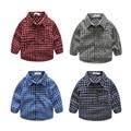4 Tipos de La Venta Caliente del Otoño Del Bebé Tops Camisa de Los Niños Camisa A Cuadros de Manga Larga para Bebés Niños Camiseta Ropa de Los Muchachos