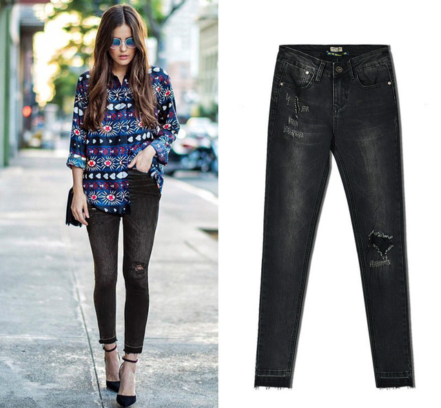 414aedd79 US $20.69 10% OFF|Dark Grey Vintage Pleated Ripped Jeans Women Europe &  America Bleached Push Up Skinny Jeans Femme Ankle length Pantalones  Mujer-in ...