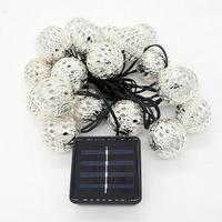 2017 20 NUEVA Cabeza De la Energía Solar Marruecos Bola Cadena de Luz 20LED Navidad Bola De Metal S919