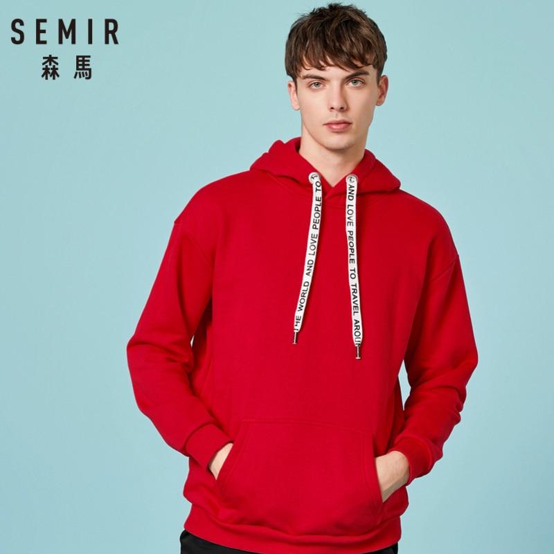 SEMIR Men Fleece-Lined Hooded Sweatshirt With Kangaroo Pocket Pullover Hoodie With Lined Drawstring Hood Ribbing Cuff And Hem